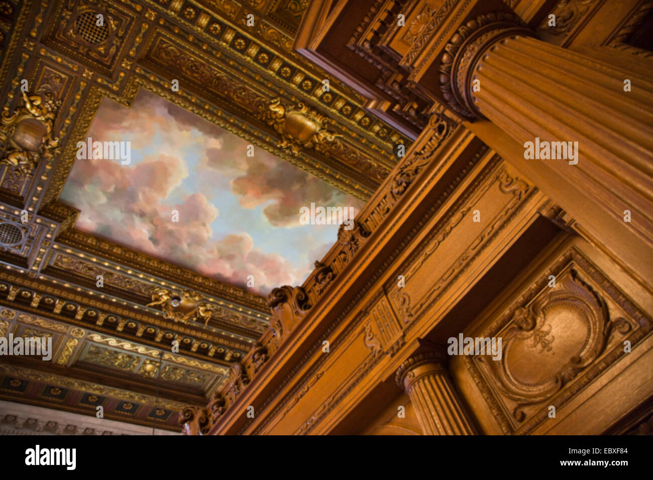 CEILING MURAL and WOODWORK - ROSE READING ROOM - NEW YORK CITY PUBLIC LIBRARY, USA, New York City - Stock Image