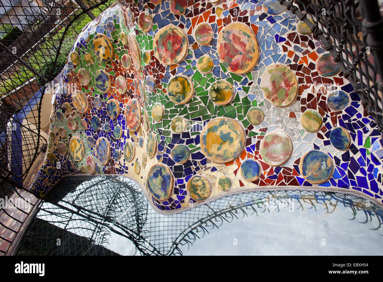 Trencadis Mosaic From Broken Tile Shards On The Terrace Of