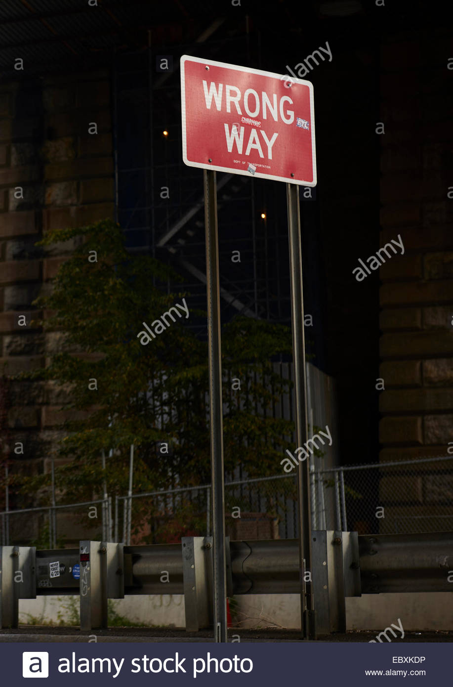 Wrong Way Sign  in Manhattan,New York - Stock Image