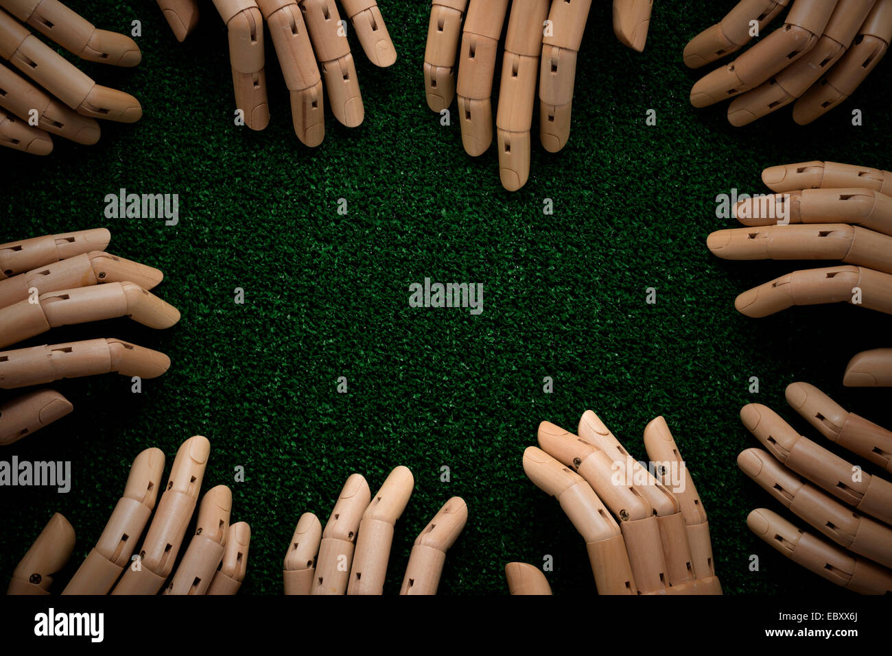 Wooden hands in seance - Stock Image