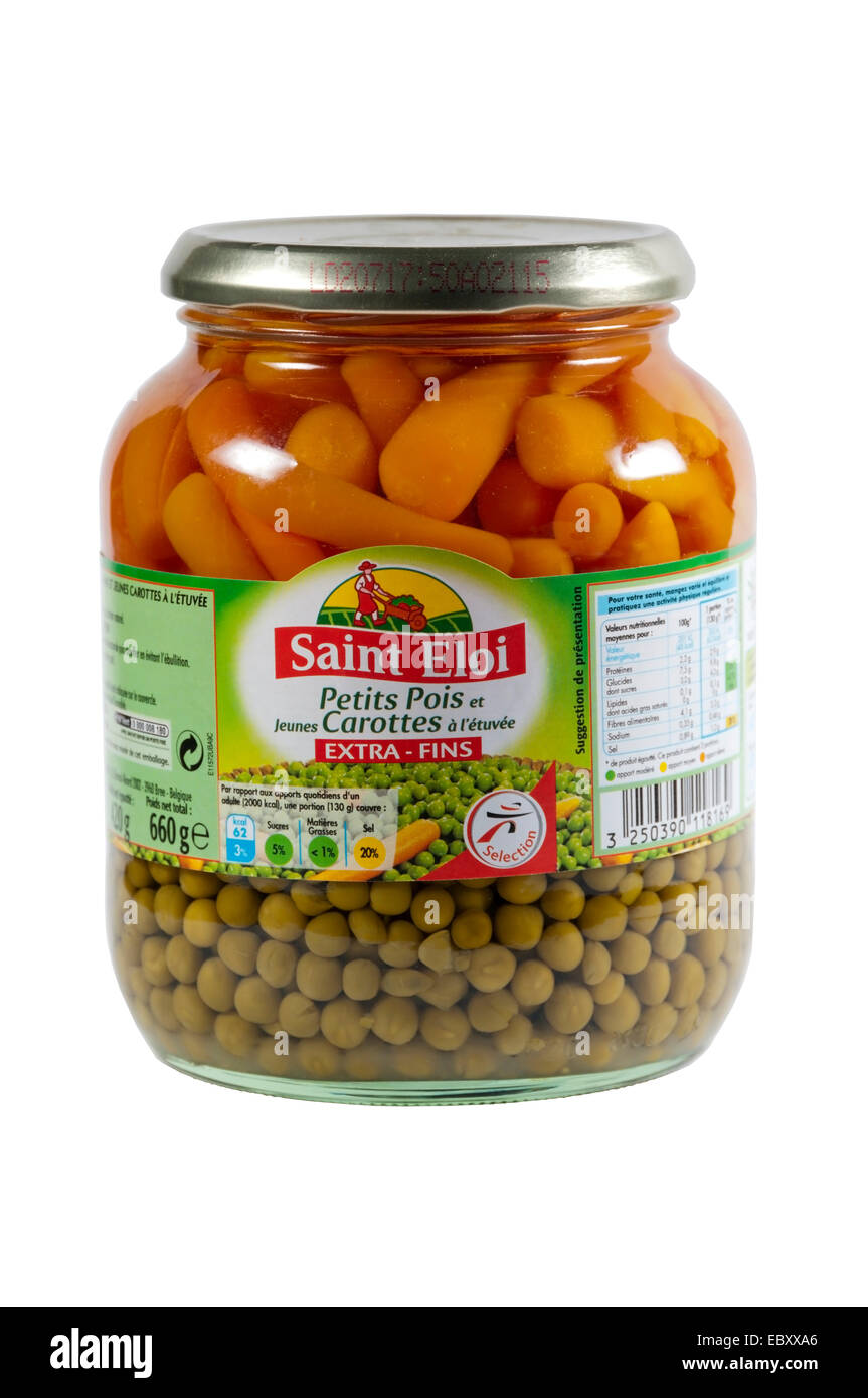 A Saint Eloi jar of mixed peas and carrots, Petits Pois et Jeunes Carottes a l'etuvee. - Stock Image