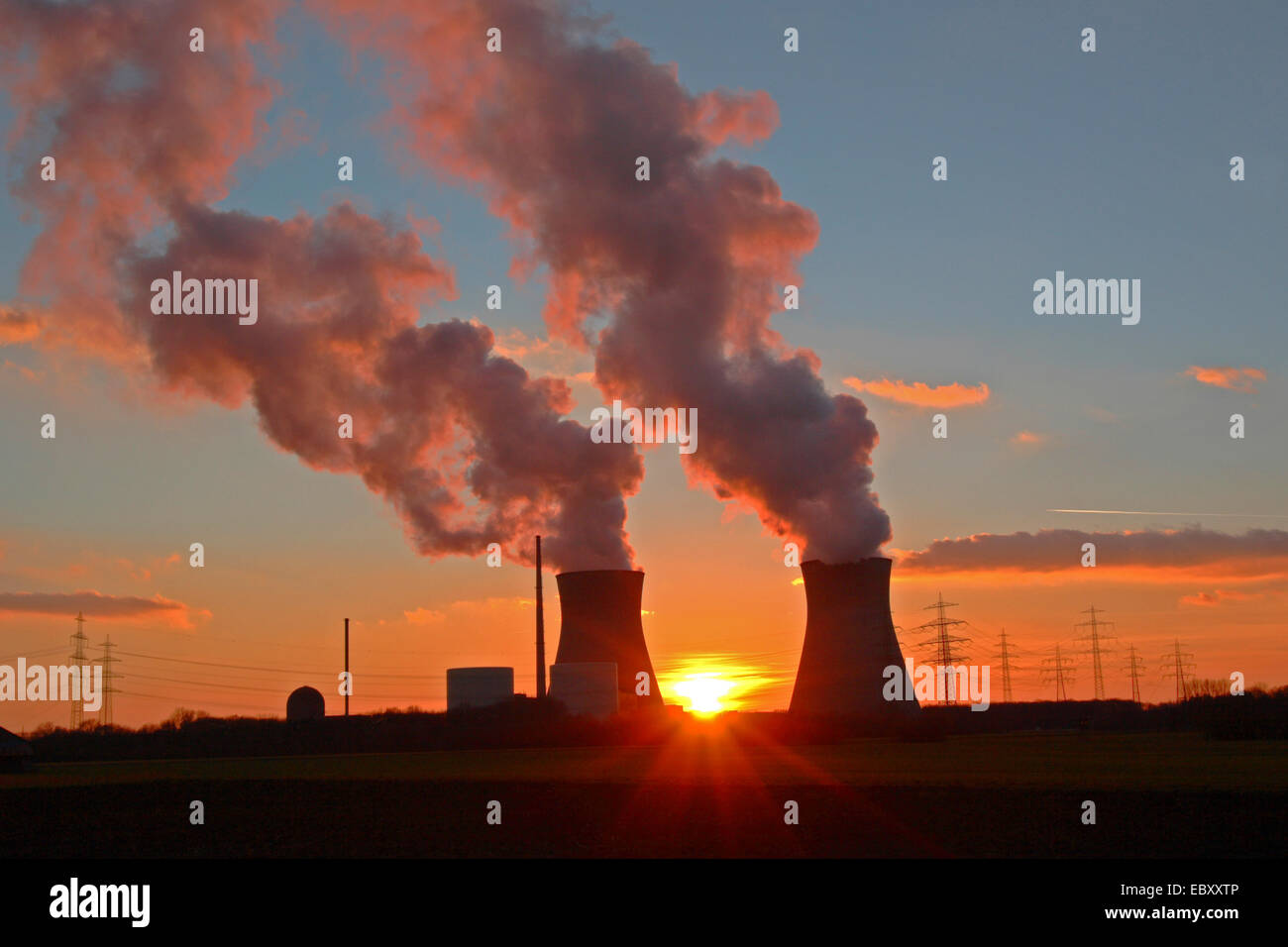 nuclear power stations at sunset, Germany, Bavaria, Guenzburg - Stock Image