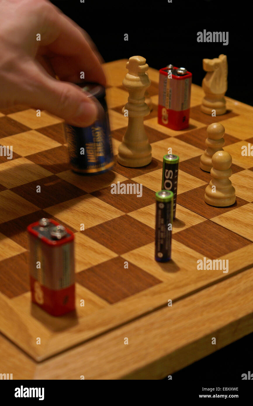 chess with batteries - Stock Image