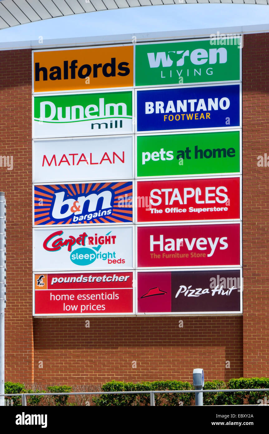 A sign listing shops at the Westwood Retail Park on the outskirts of Broadstairs in Kent. - Stock Image