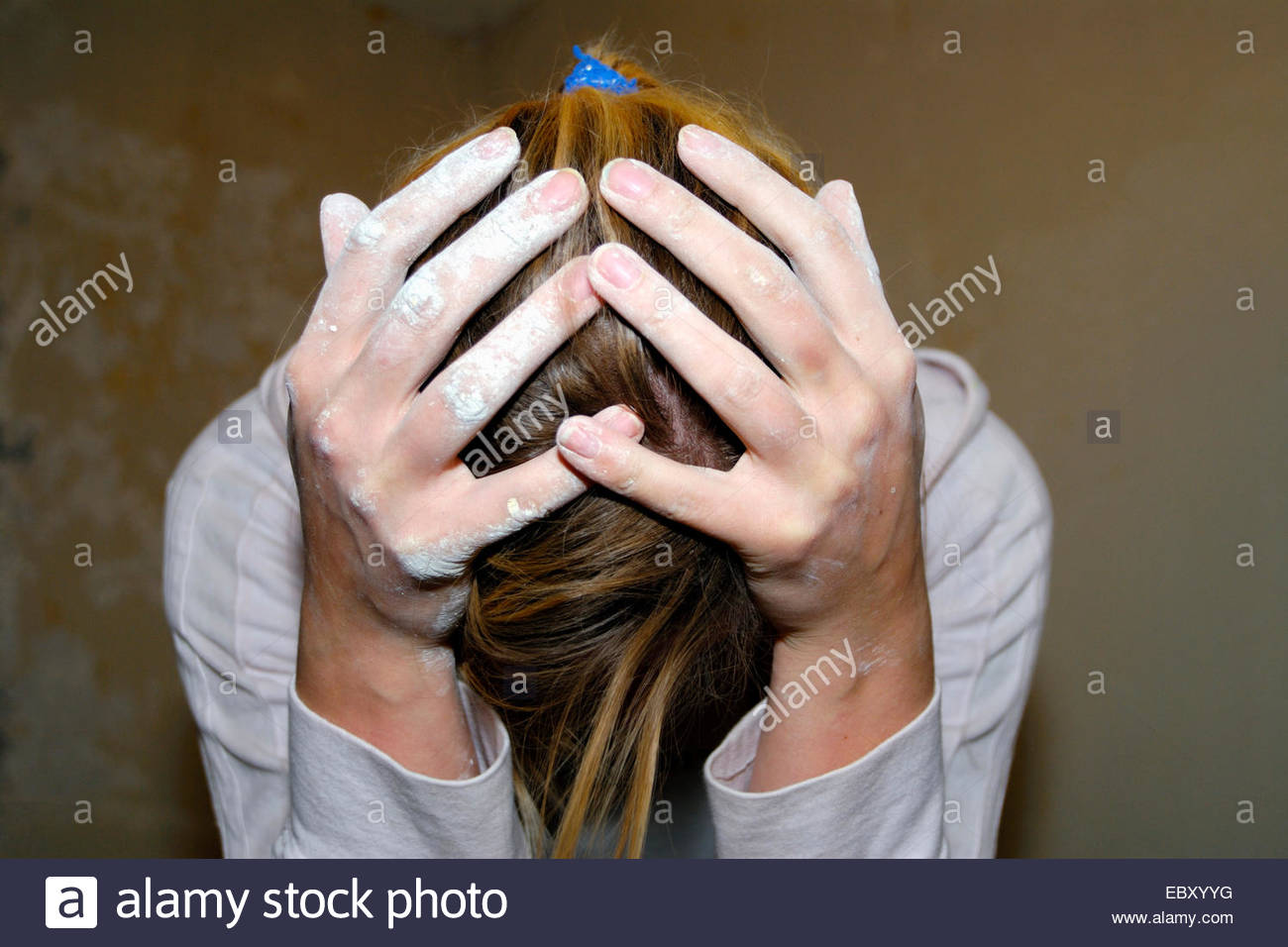 desperate woman, changing her domicile - Stock Image