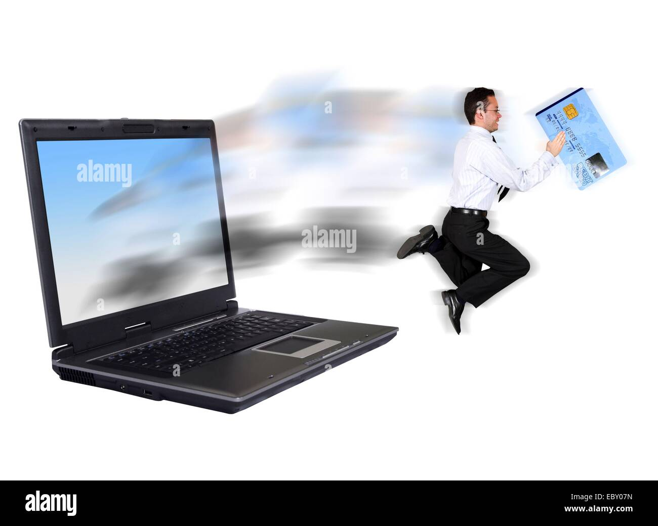 symbolic image for online security: businessman stealing a credit card and escaping from a latop with secret datas - Stock Image