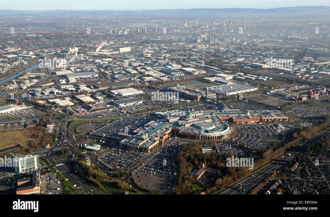 aerial view of the Trafford Centre with the Manchester city skyline in the background, UK - Stock Image