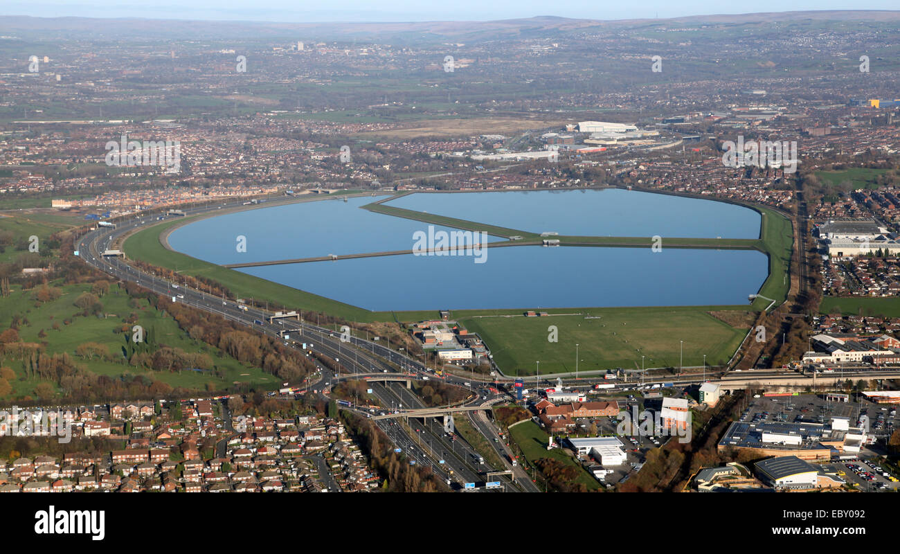 aerial view of Audenshaw Reservoir in Manchester, UK - Stock Image