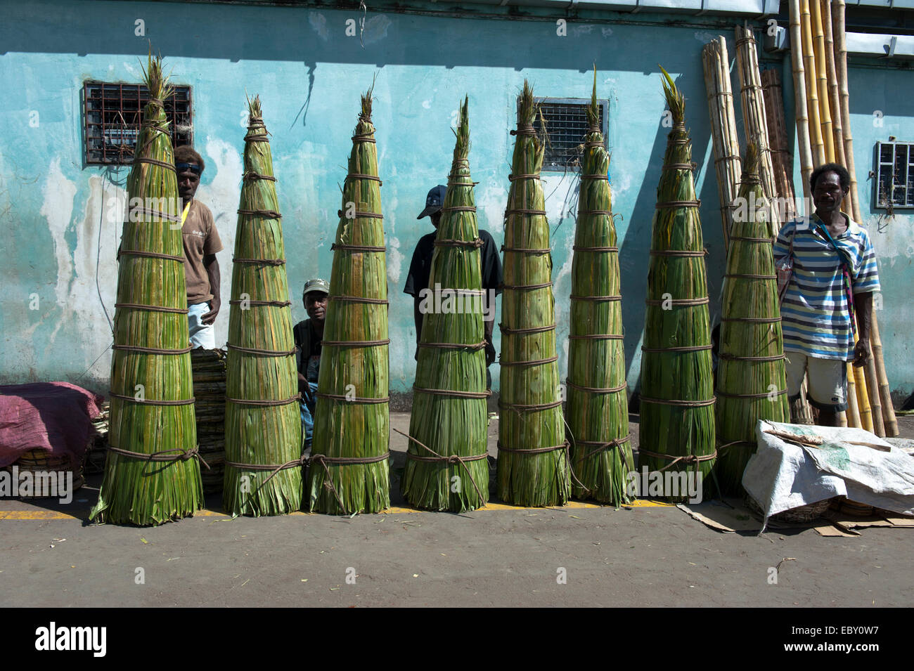 Reed for sale in front of the market hall, Honiara, Solomon Islands - Stock Image