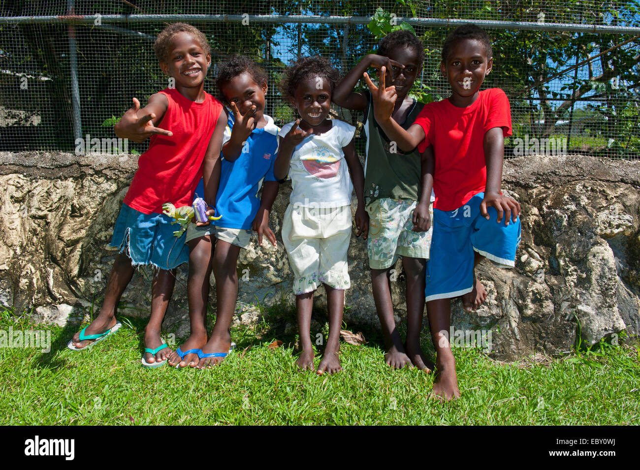 Group of local children, Honiara, Solomon Islands - Stock Image