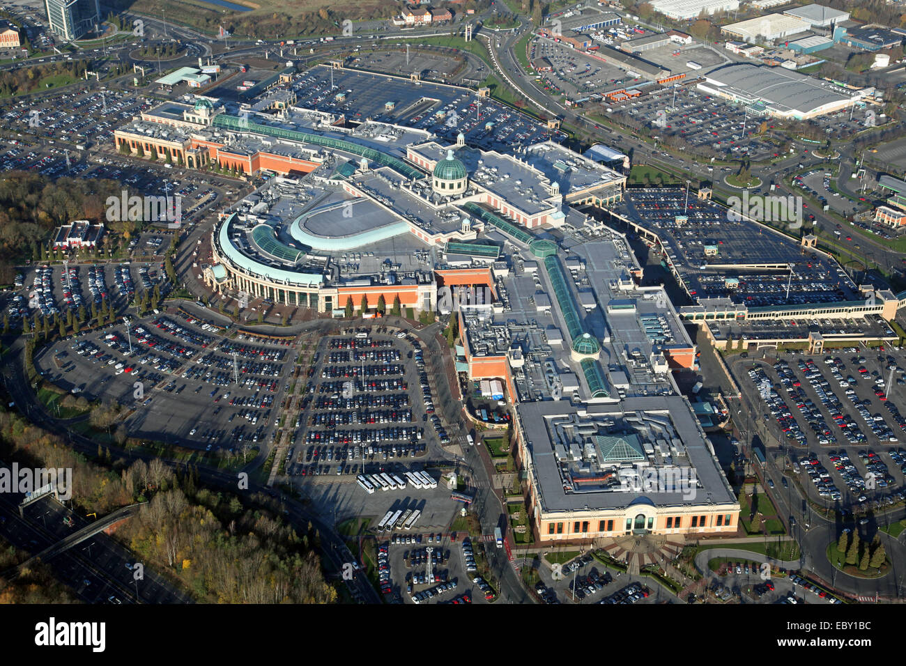 aerial view of The Trafford Centre in Manchester, UK - Stock Image