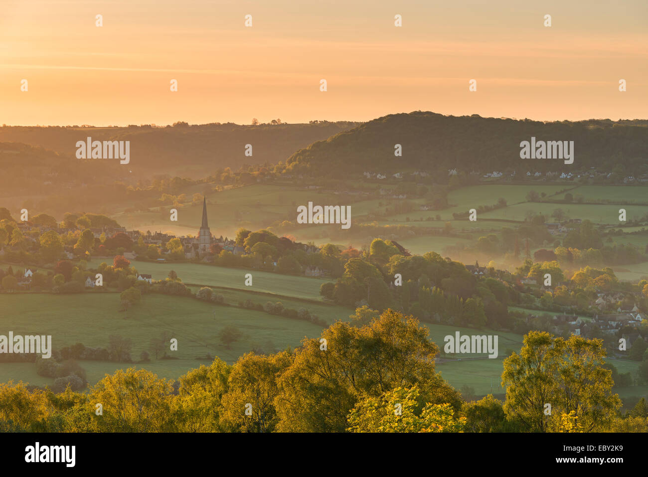Picturesque Cotswolds village of Painswick at dawn, Gloucestershire, England. - Stock Image