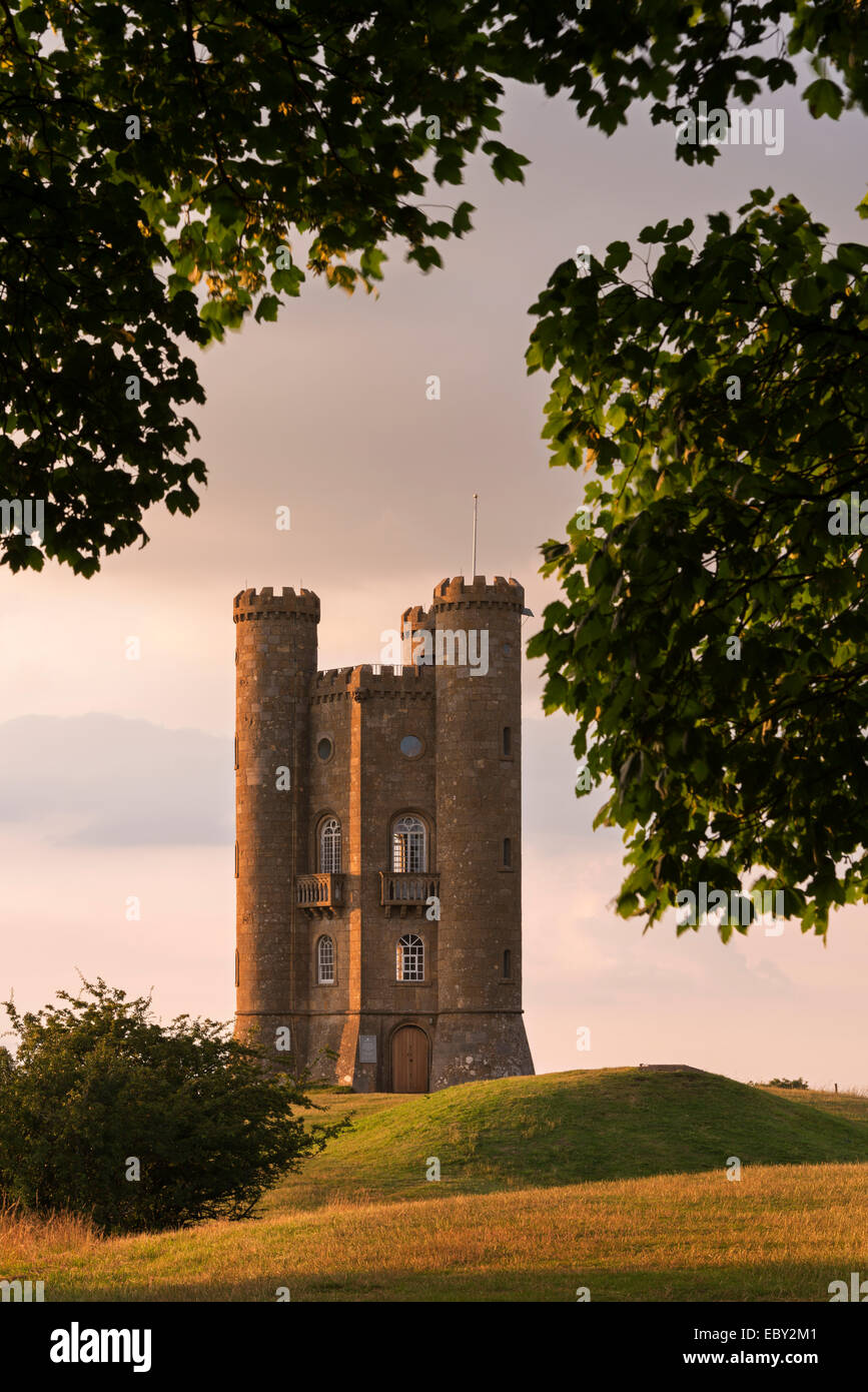 Broadway Tower, one of the Cotswolds most recognisable buildings, Worcestershire, England. Summer (July) 2014. Stock Photo