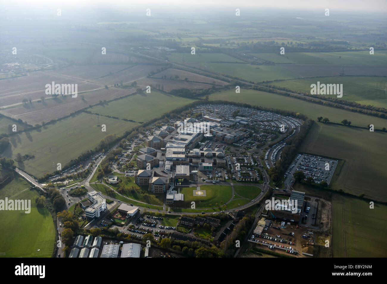An aerial view of the Norwich and Norfolk University Hospital Stock Photo