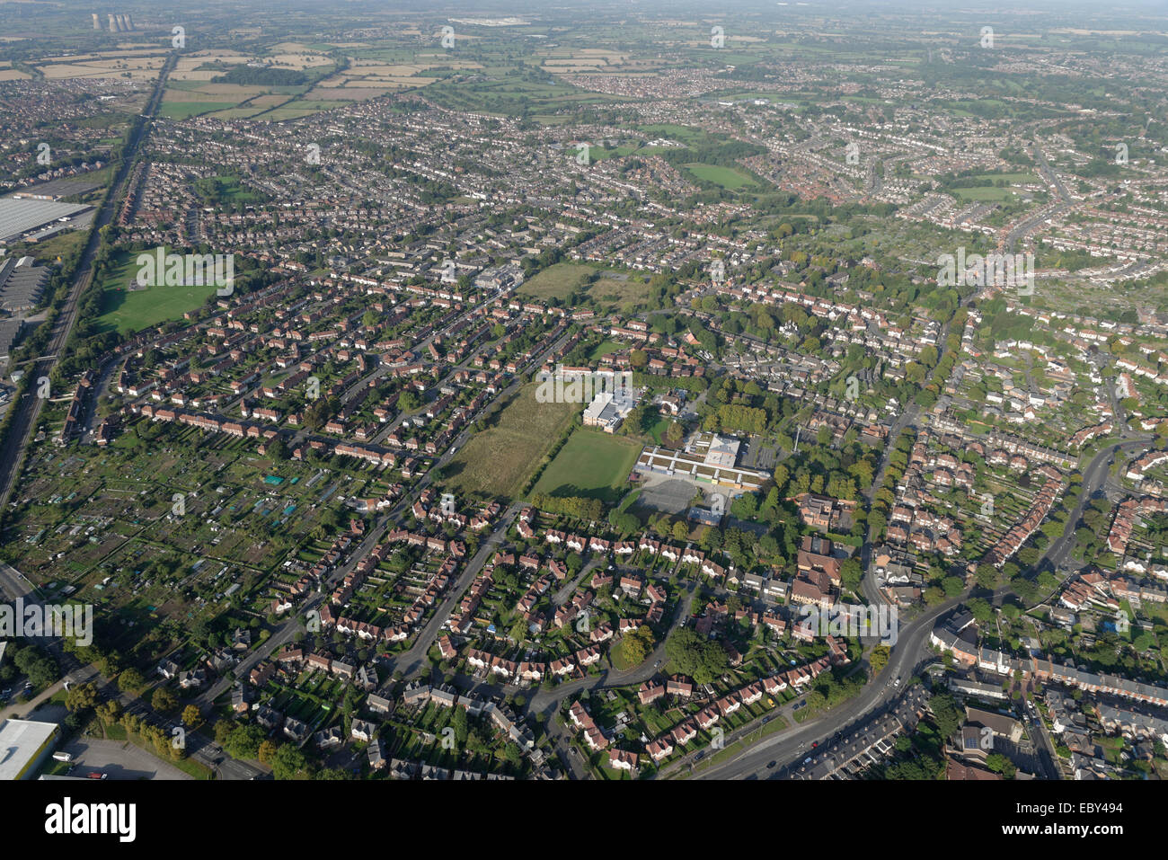 An aerial view of western Derby showing the residential areas to the south of Derby City Centre - Stock Image