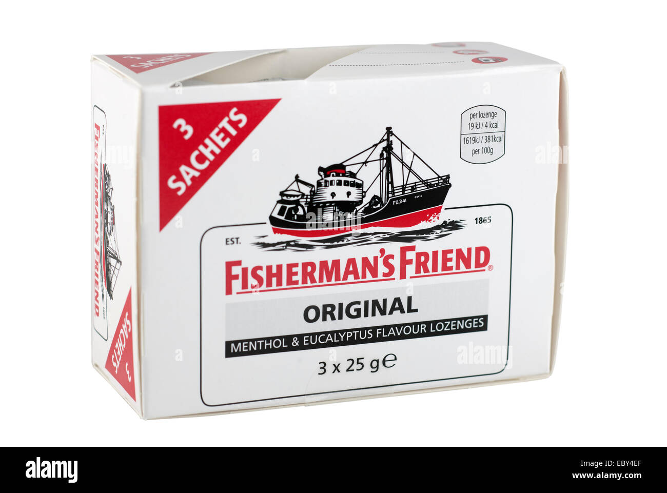 Pack of three sachets of Fisherman's Friend original menthol and eucalyptus flavour lozenges - Stock Image