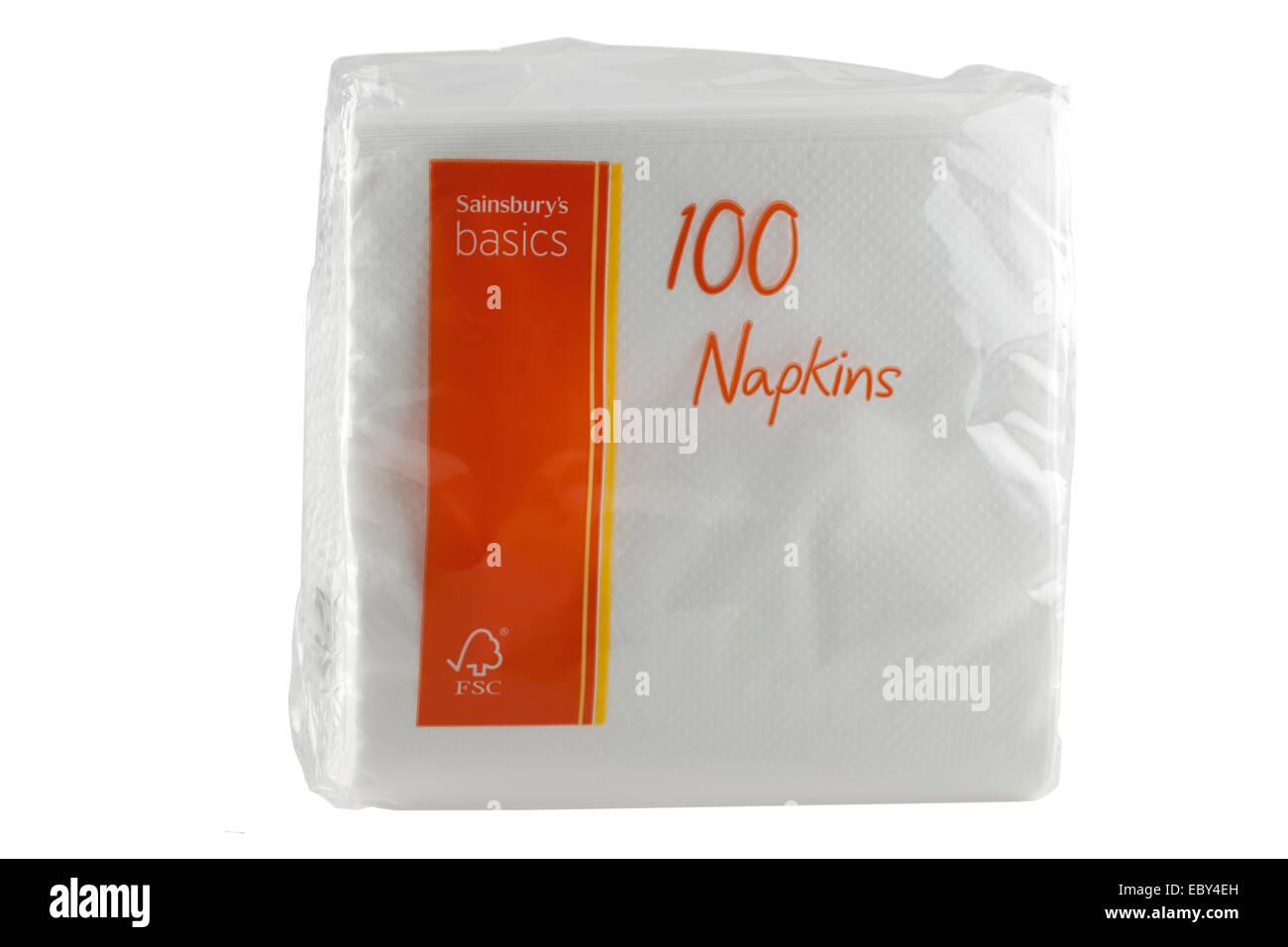 Packet Sainsburys basics 100 napkins - Stock Image