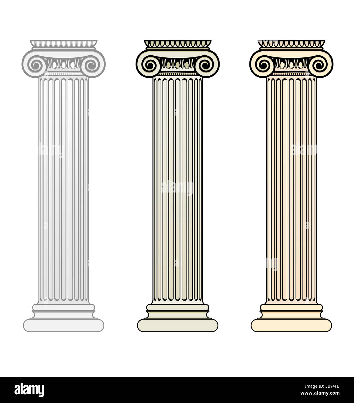 Three Ionic Columns with different toning - Stock Image