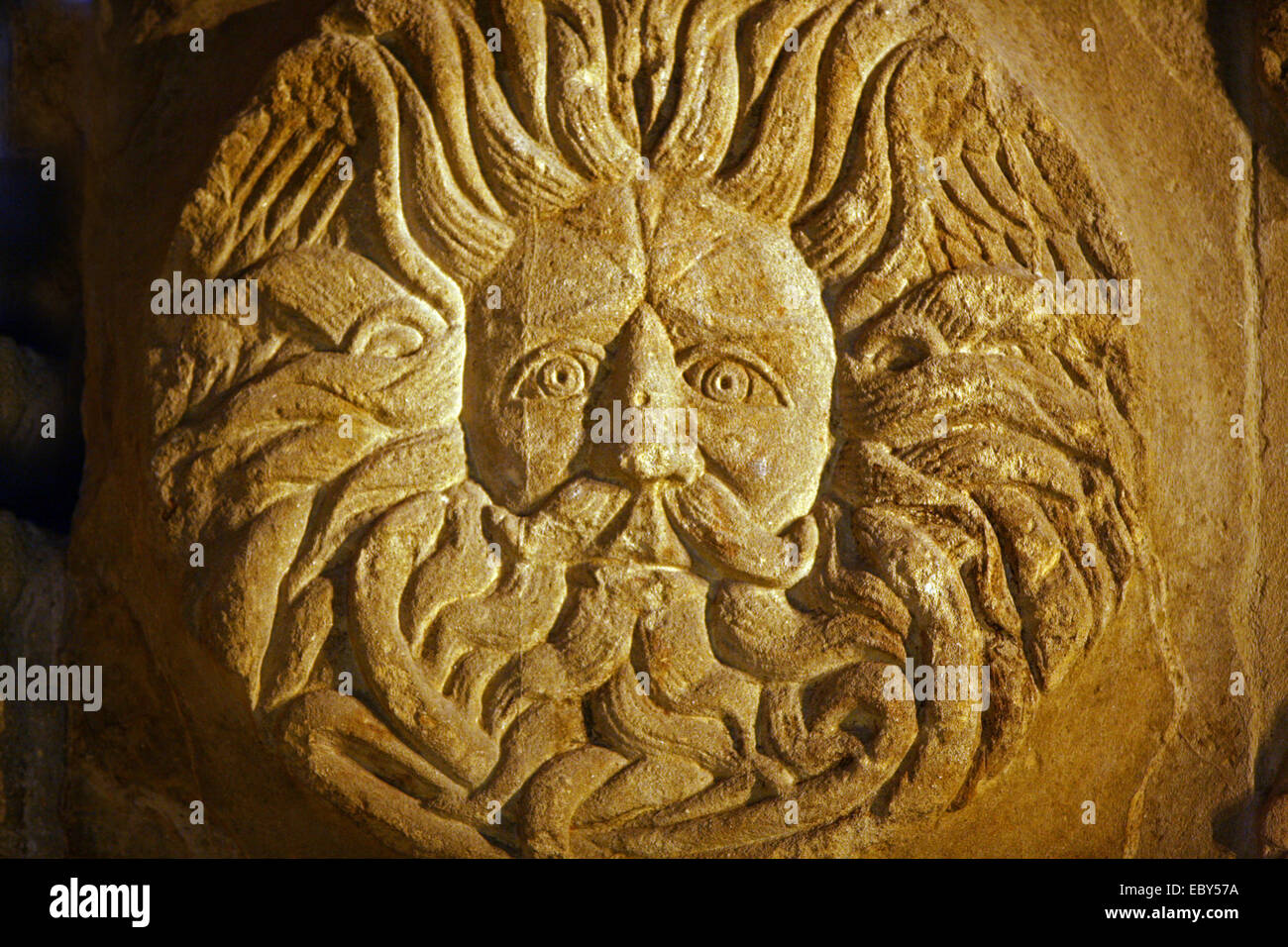 Head from the pediment on the temple to Sulis Minerva Roman bath - Stock Image