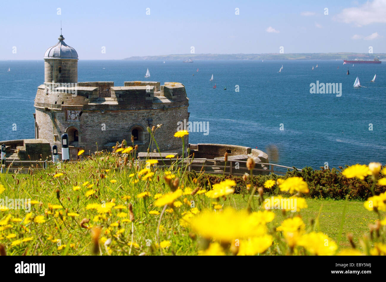 St Mawes Castle with view across the Carrick Roads & Falmouth Bay Carrick South Cornwall South West England - Stock Image