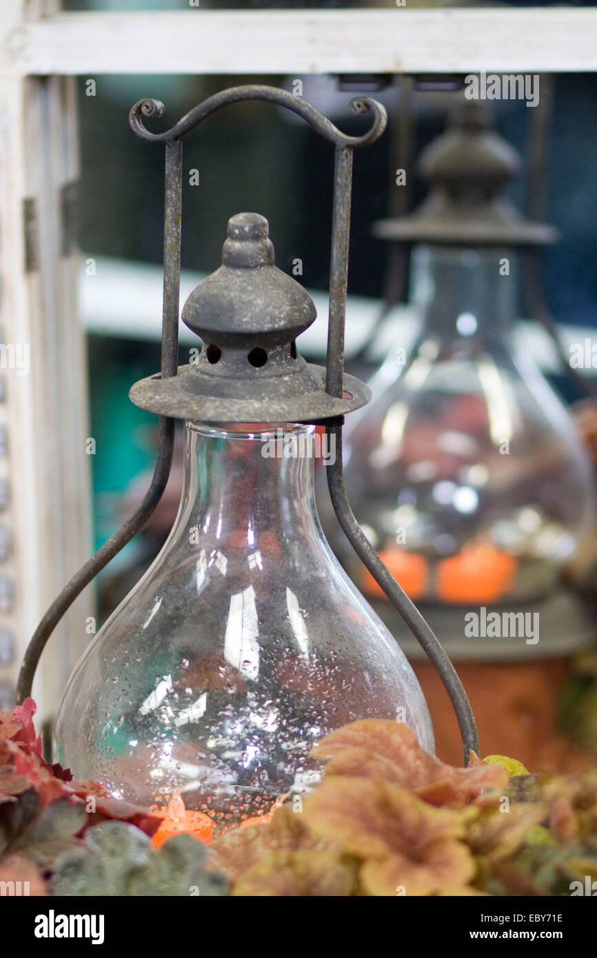 Old Traditional Glass Oil Lamp - Stock Image