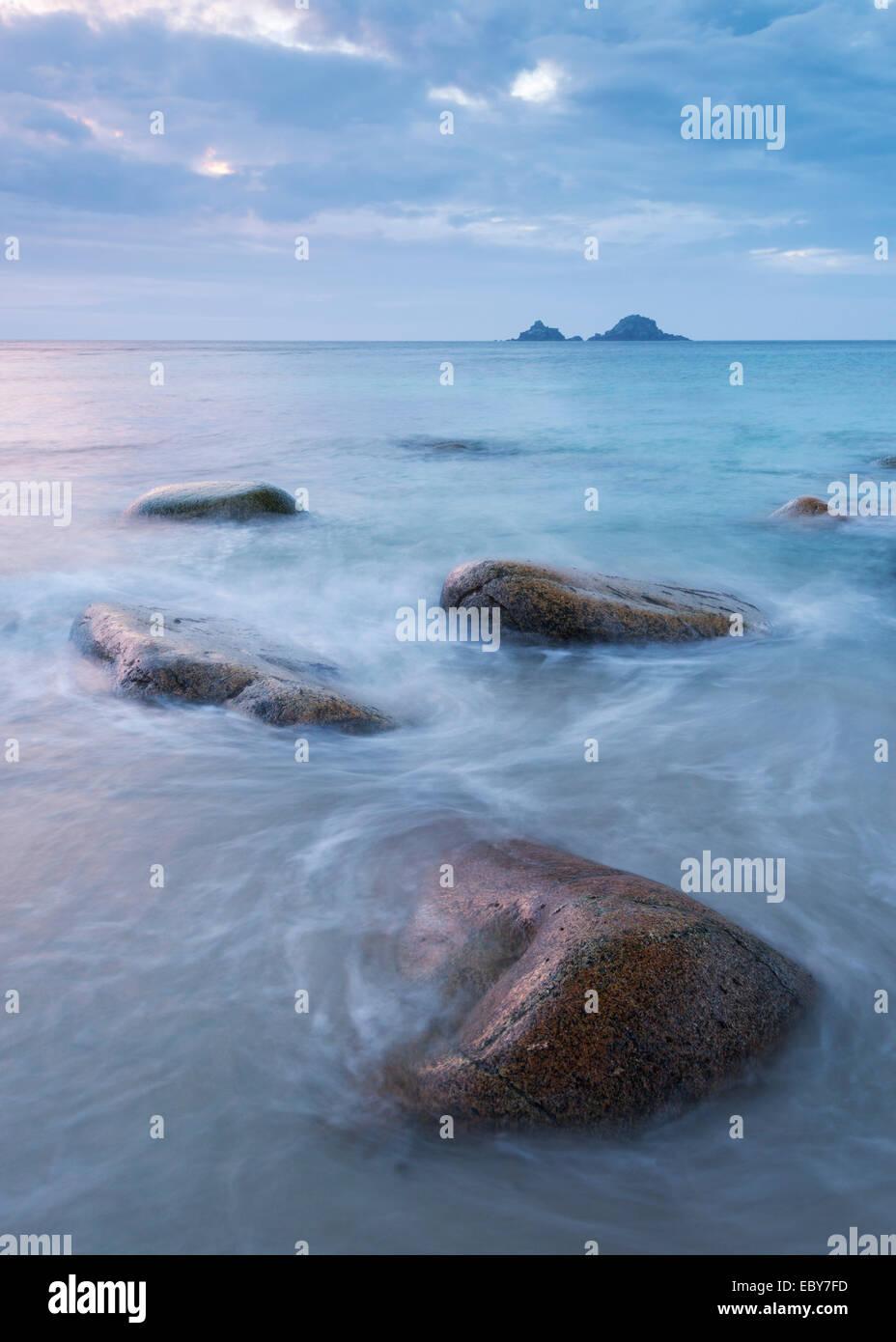 Cornish seascape, Porth Nanven, Cornwall, England. Autum (September) 2013. - Stock Image