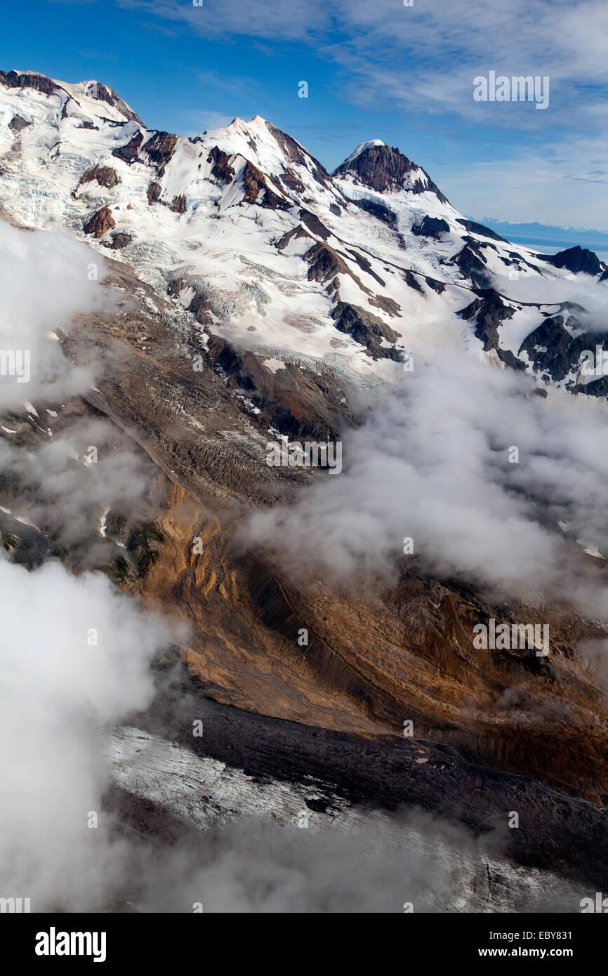 Aerial view of Mt Lliamna, Alaska, USA - Stock Image