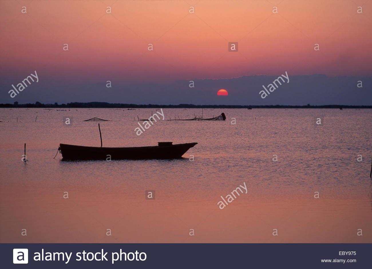 Camargue at sunset - Stock Image
