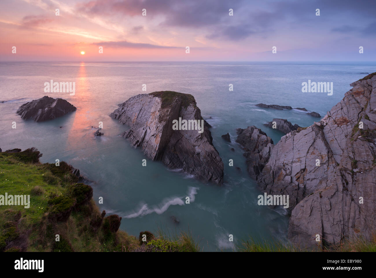 Sunset over the North Devon Coast, Devon, England. Spring (April) 2014. - Stock Image