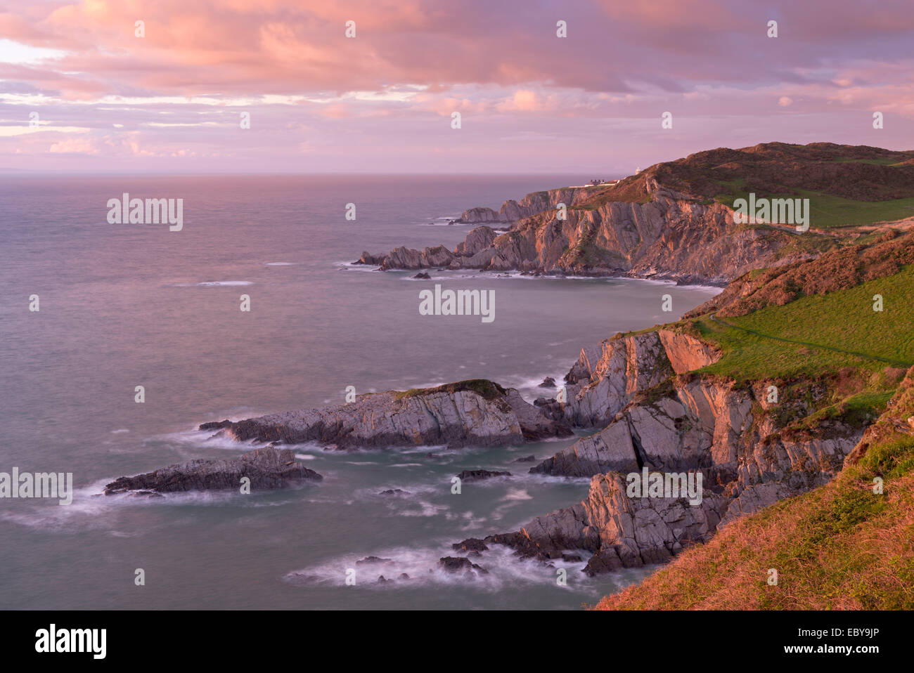 Glorius evening light on the North Devon coast near Ilfracombe, England. Spring (May) 2014 - Stock Image