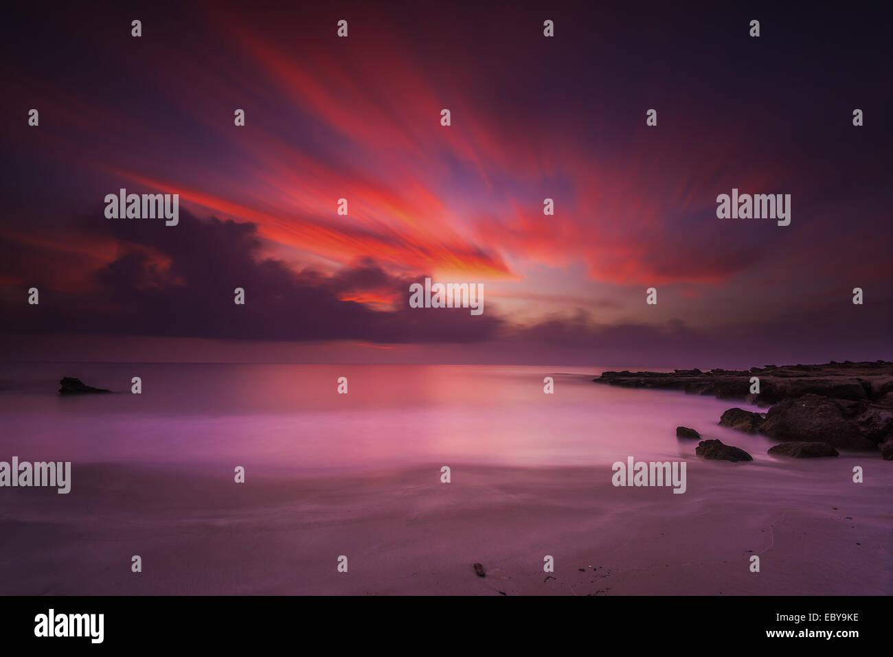 Sunset moment in Agios Theologos beach in Kos island Greece - Stock Image