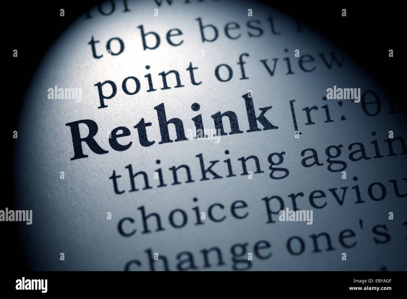 Fake Dictionary, Dictionary definition of the word rethink. - Stock Image