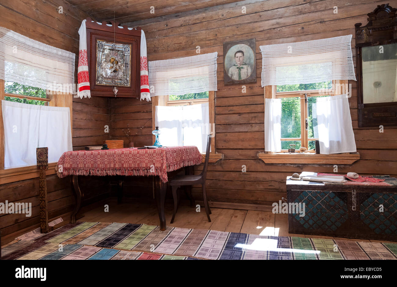 Interior of old rural wooden house in the museum of wooden architecture Vitoslavlitsy Stock Photo