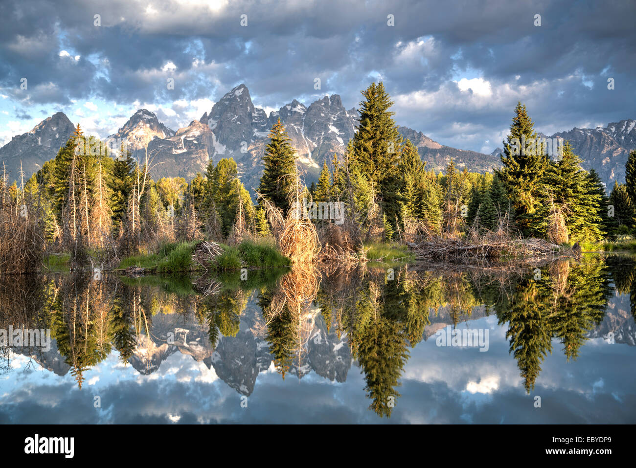 USA, Wyoming, Grand Teton National Park, water reflection of the Teton Range, taken from the end Schwabacher Road - Stock Image