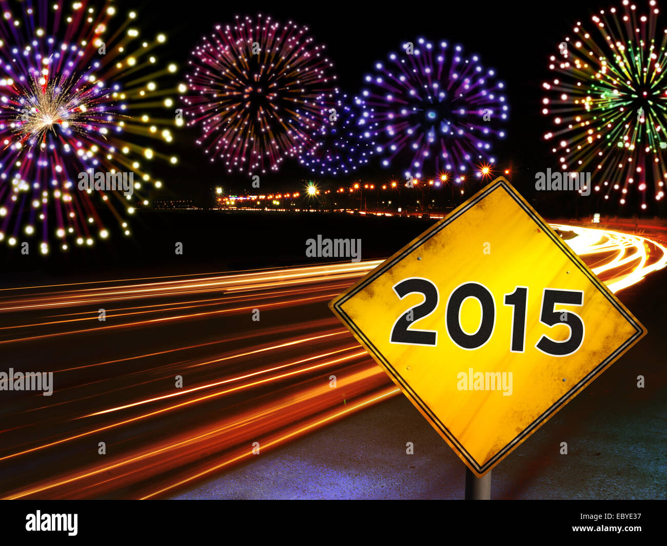 Happy New Year 2015 Fireworks And City Cars Highway Lights With