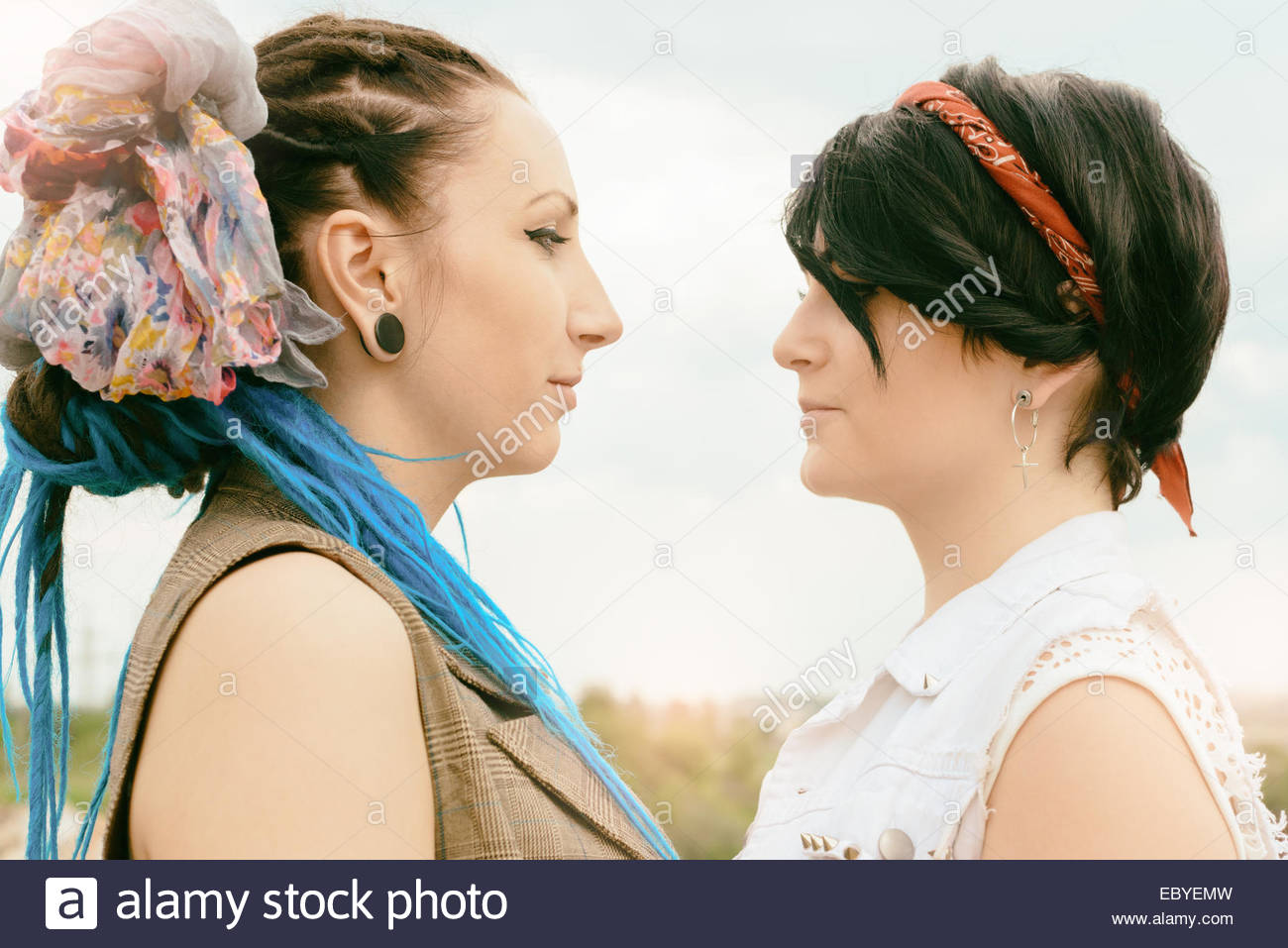 young girls of the competitor look each other in face - Stock Image