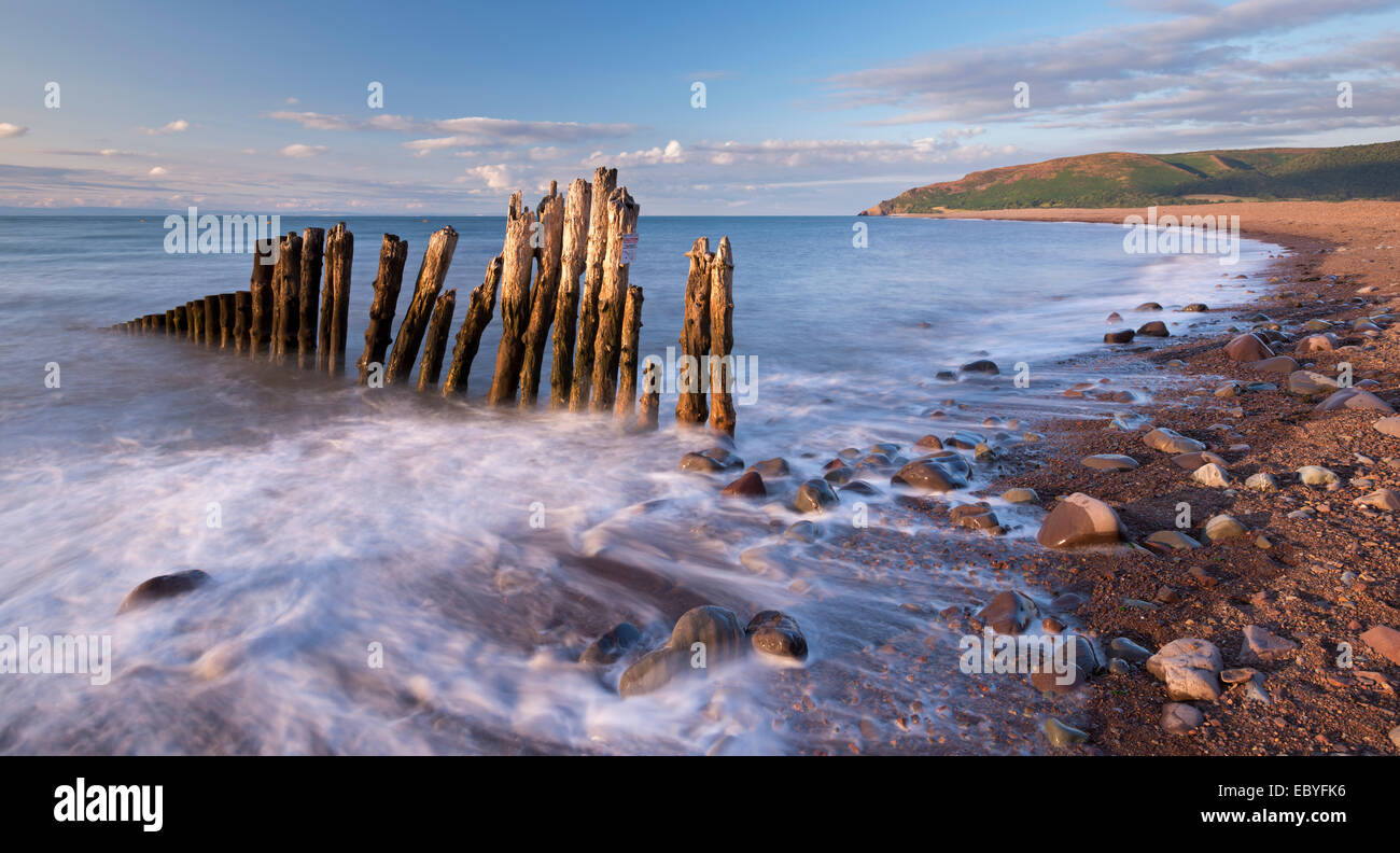 Wooden sea defences at Porlock Bay in Exmoor National Park, Somerset, England. Summer (July) 2014. - Stock Image