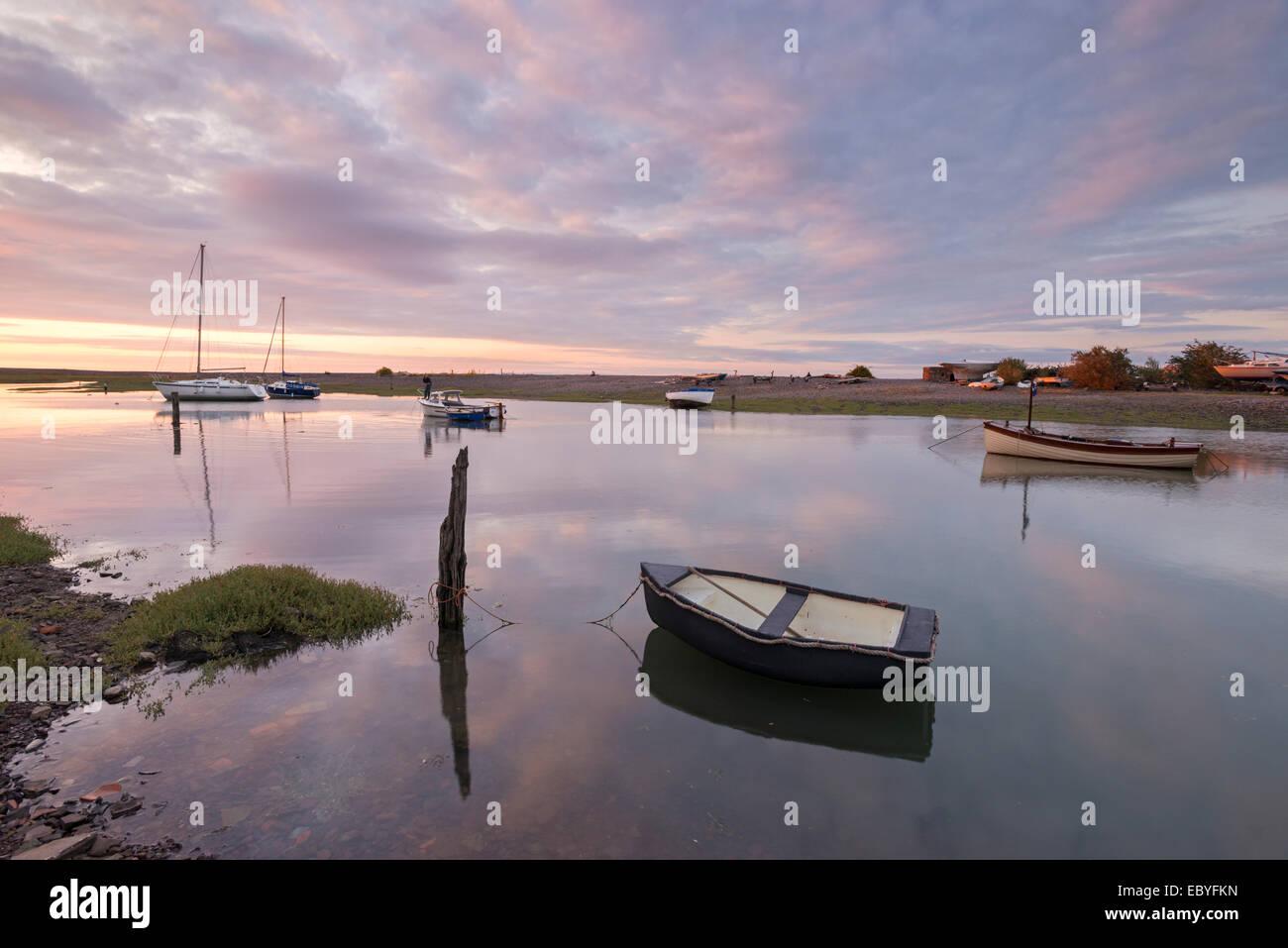 Sunset over Porlock Weir harbour, Exmoor, Somerset, England. Summer (July) 2014. Stock Photo