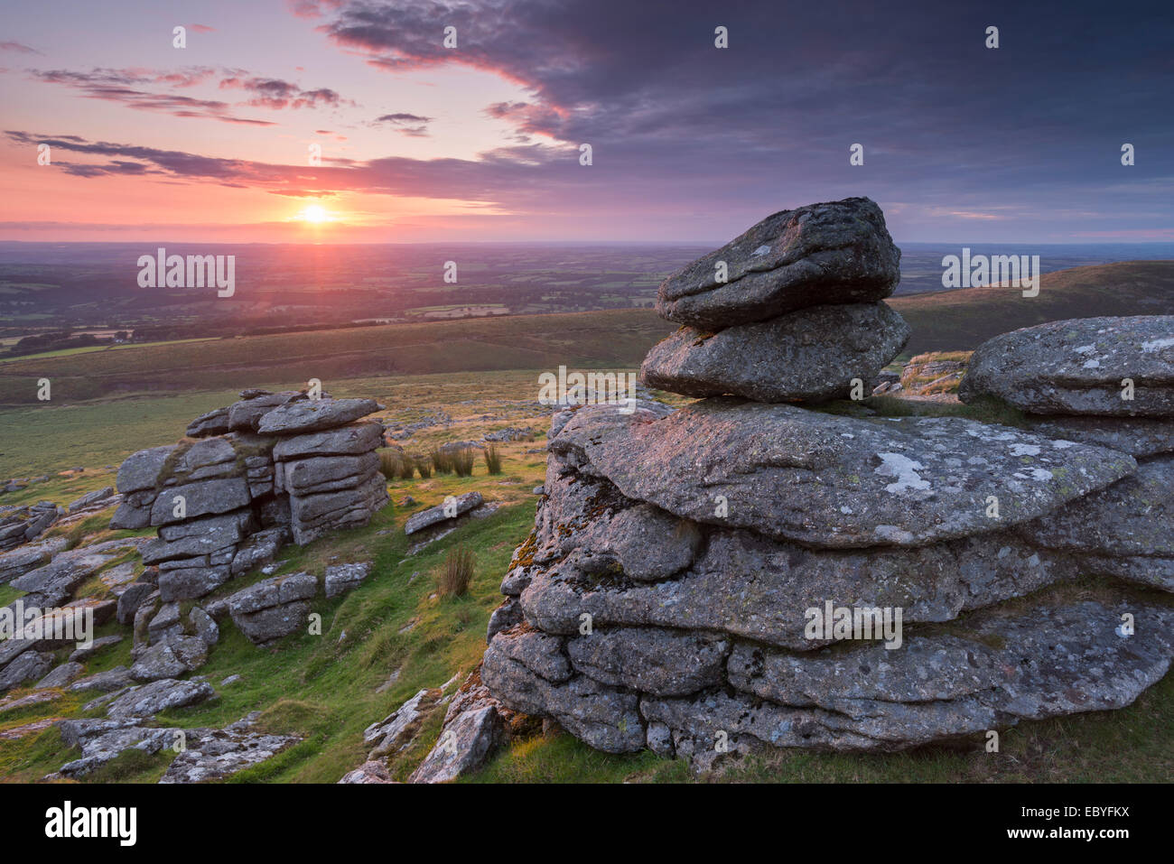 Beautiful sunset over Arms Tor, Dartmoor, Devon, England. Summer (August) 2014. - Stock Image