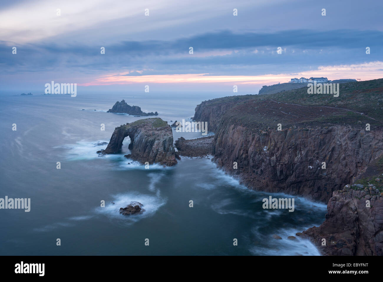 Sunset over the dramatic cliffs of Land's End, Cornwall, England. Autumn (September) 2014. - Stock Image