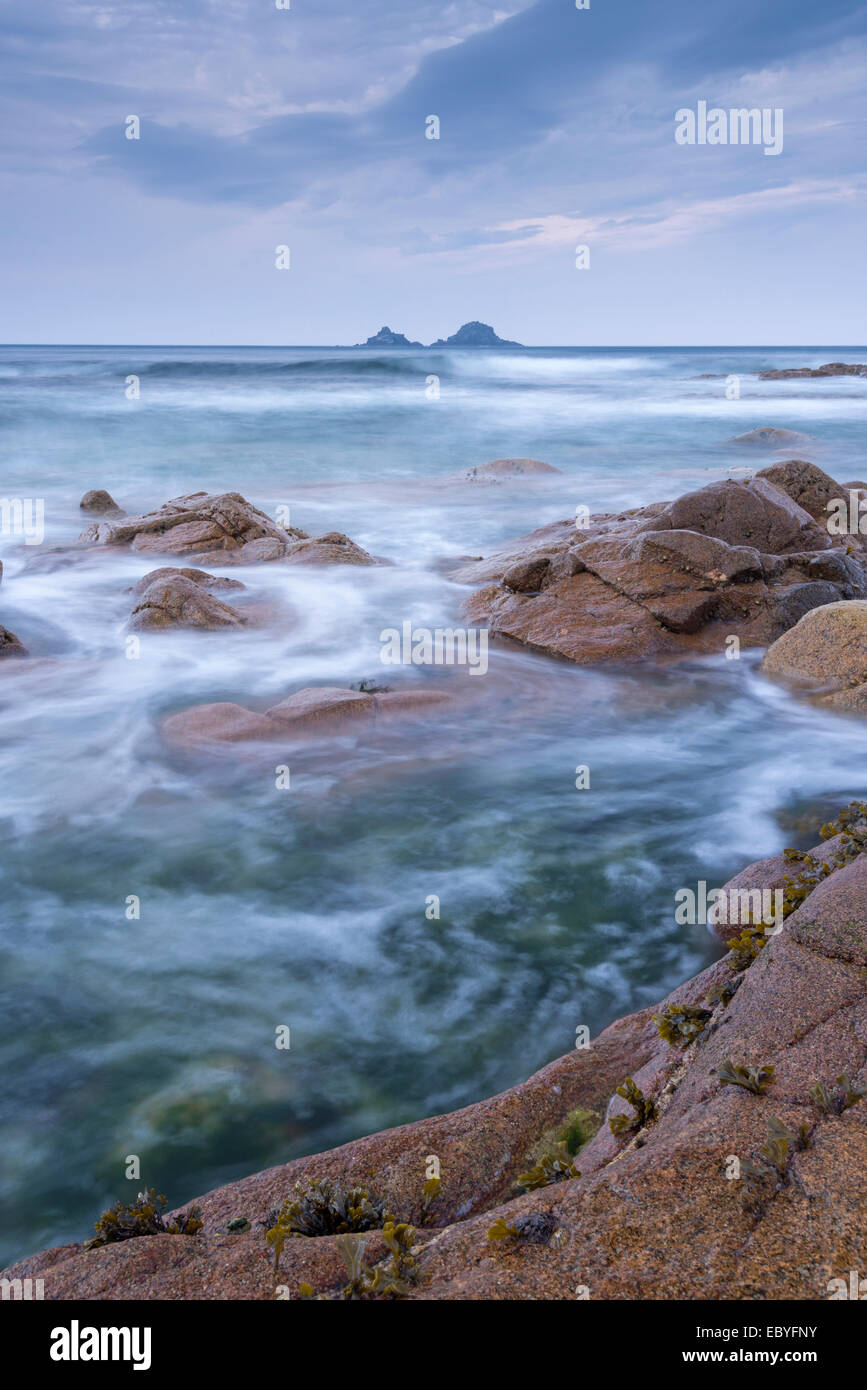The Brisons islands from Nanven in the Cot Valley, Cornwall, England. Autumn (September) 2014. - Stock Image