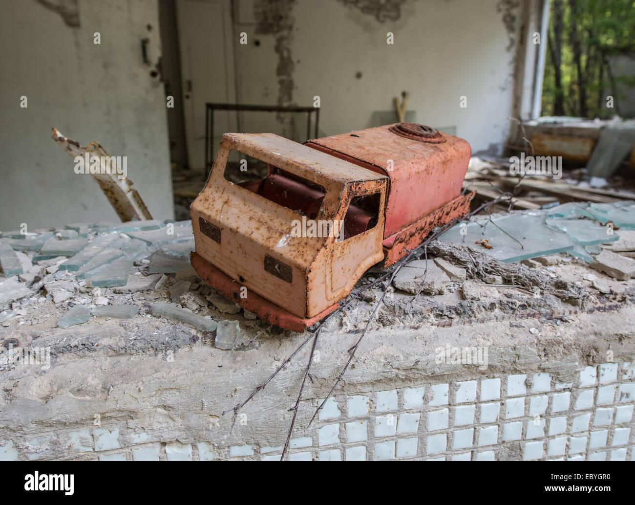 Preventive clinic 'Solnechny' (Sunny) in Pripyat abandoned city, Chernobyl Exclusion Zone, Ukraine - Stock Image