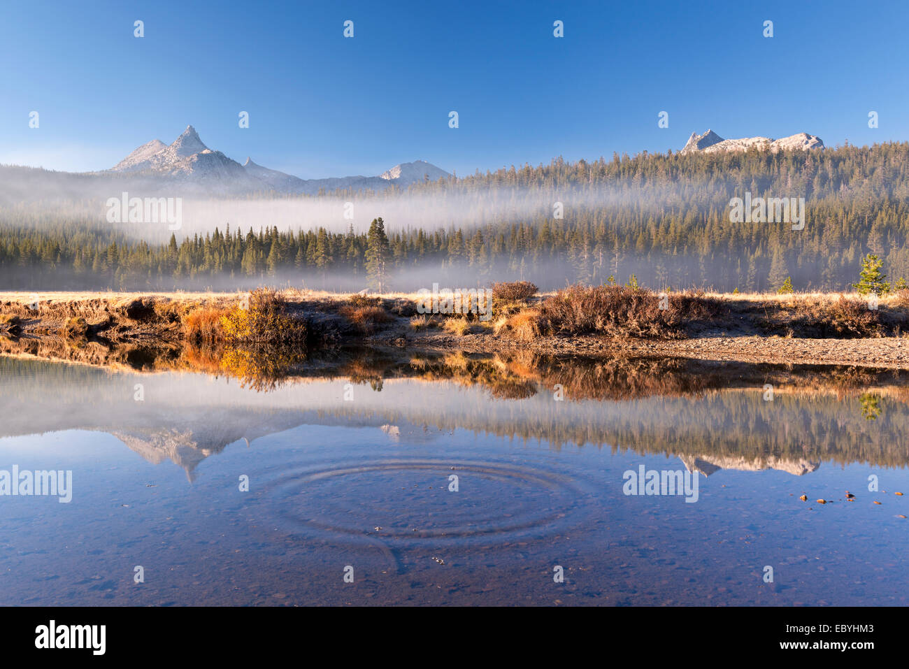 Unicorn and Cathedral Peaks reflected in the Tuolumne River, Tuolumne Meadows, Yosemite, California, USA. Autumn - Stock Image