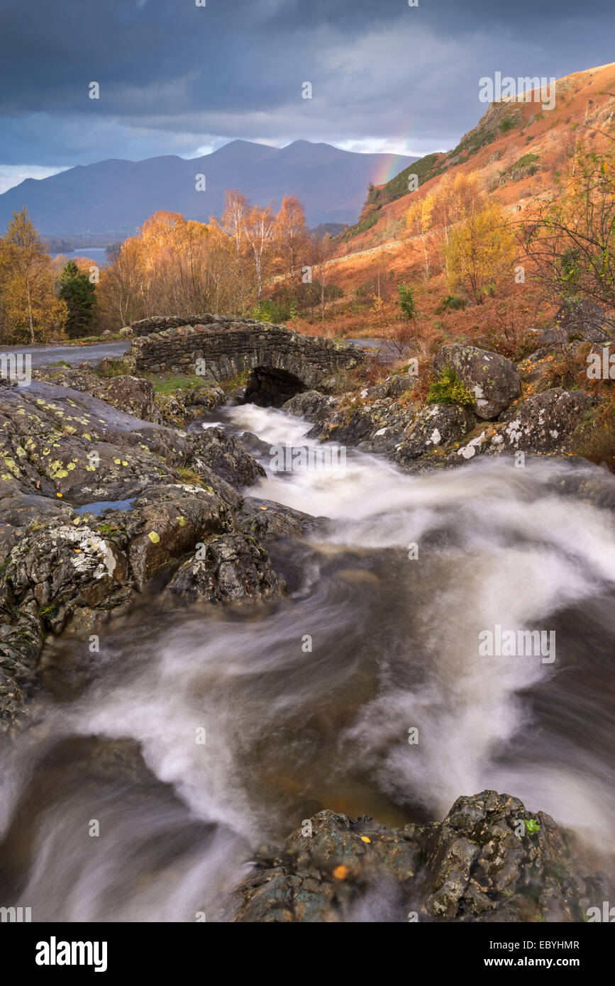 Tumbling mountain stream at Ashness Bridge in the Lake District, Cumbria, England. Autumn (November) 2014. - Stock Image