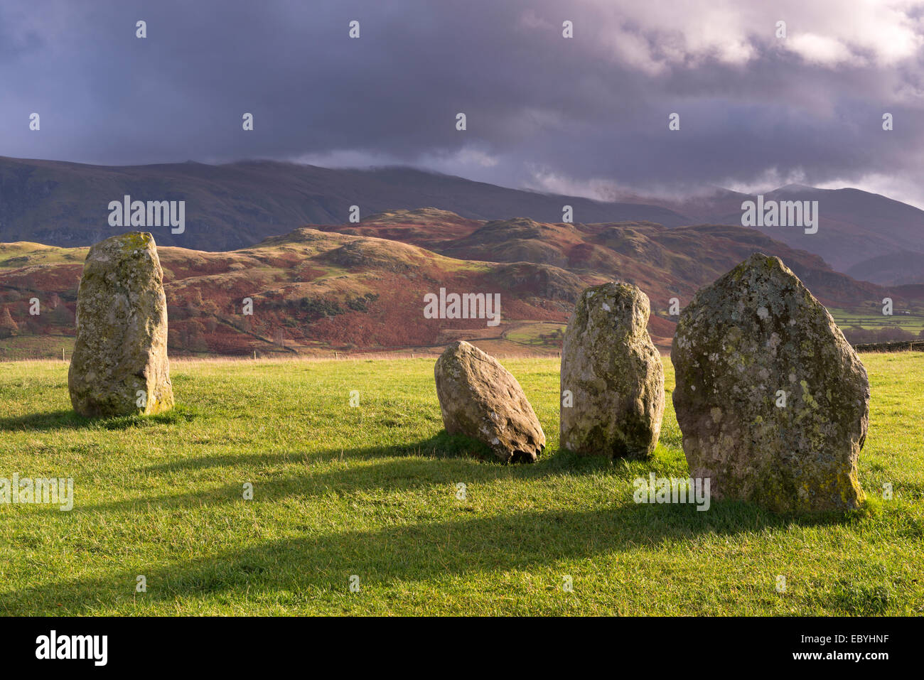 Megalithic standing stones forming part of Castlerigg Stone Circle, Lake District, Cumbria, England. Autumn (November) Stock Photo