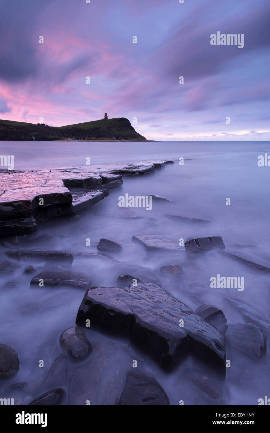 Kimmeridge Bay at dawn, Jurassic Coast, Dorset, England. Autumn (November) 2014. - Stock Image
