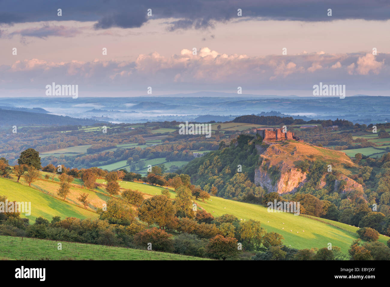Carreg Cennen Castle in the Brecon Beacons, Carmarthenshire, Wales. Summer (August) 2014. - Stock Image