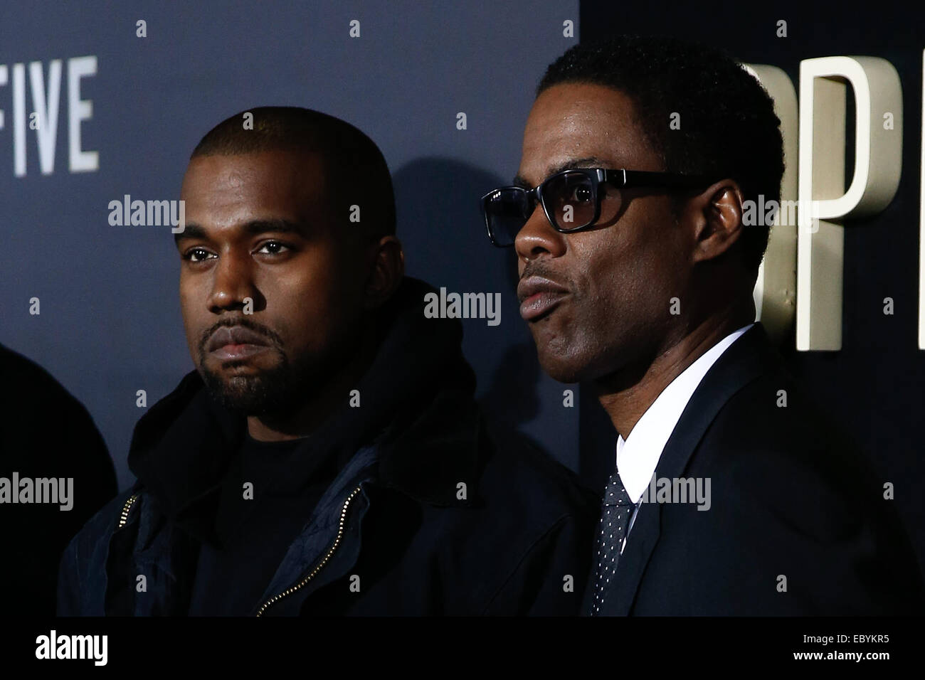 NEW YORK-DEC 3: Comedian/actor Chris Rock (R) and rapper Kanye West attend the 'Top Five' premiere at the - Stock Image
