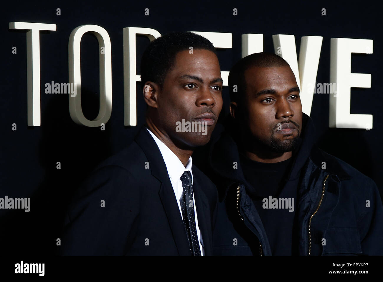 NEW YORK-DEC 3: Comedian/actor Chris Rock and rapper Kanye West attend the 'Top Five' premiere at the Ziegfeld - Stock Image