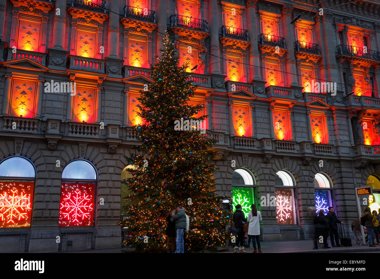 Christmas decoration of the Credit Suisse building at the Paradeplatz, Zurich, Switzerland. - Stock Image